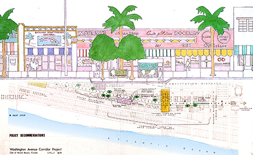 Plan für die Wiederbelebung der Washington Avenue, Miami Beach, Florida, 1978 / Plan: Venturi, Scott Brown and Associates inc.