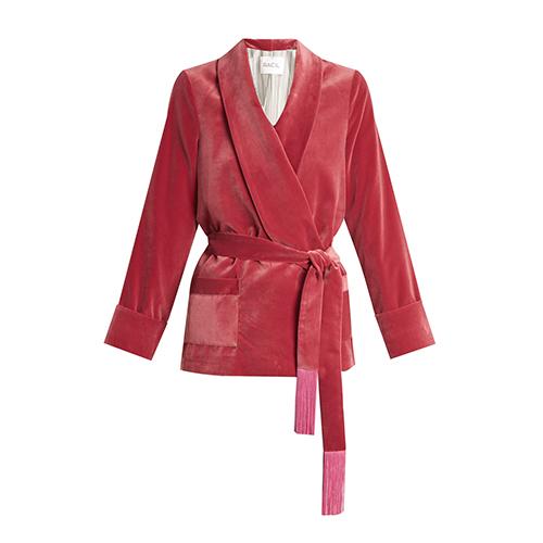 Tassel-embellished belted velvet jacket von Racil