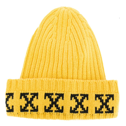 'arrow' print ribbed beanie von Off-White