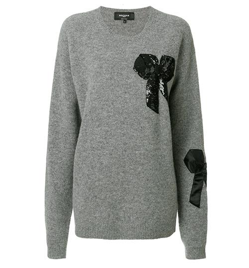 Oversized-Pullover mit Schleifenapplikation von Rochas