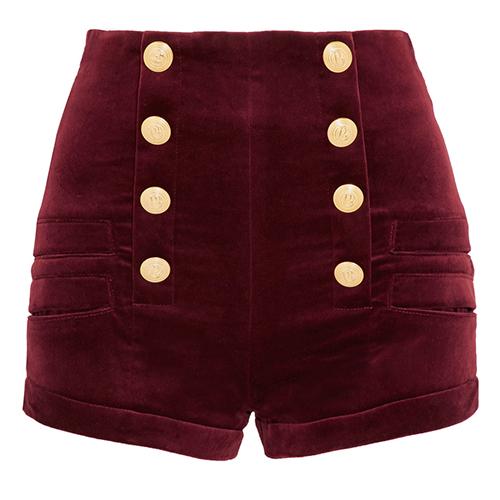 Shorts aus Samt von Pierre Balmain