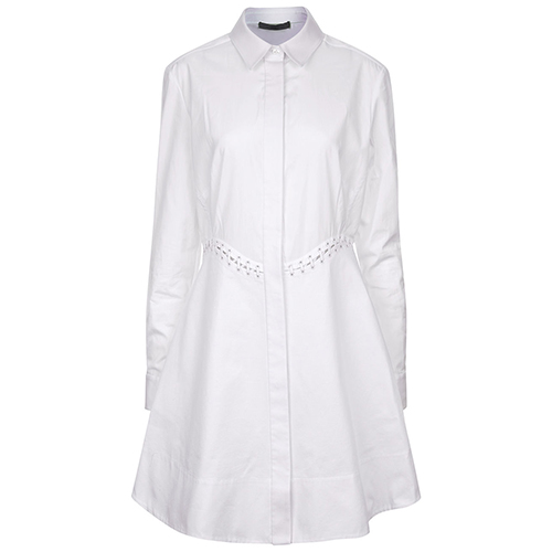 White Cotton Laced Shirt Dress von Alexander Wang