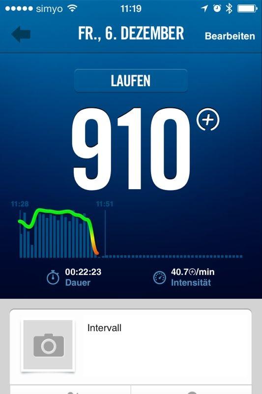 Man kann die Sessions auf der FuelBand App ganz genau tracken und auch sehen wieviele Kalorien man verbraucht hat