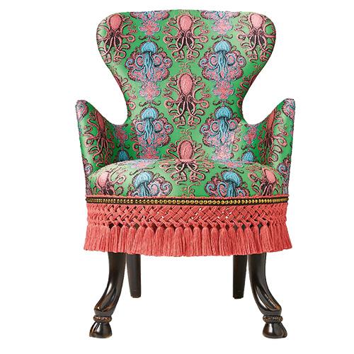 Kleidsamer Bezug: Sessel mit Wiedererkennungs-Wert von GUCCI DECOR / Foto: PR