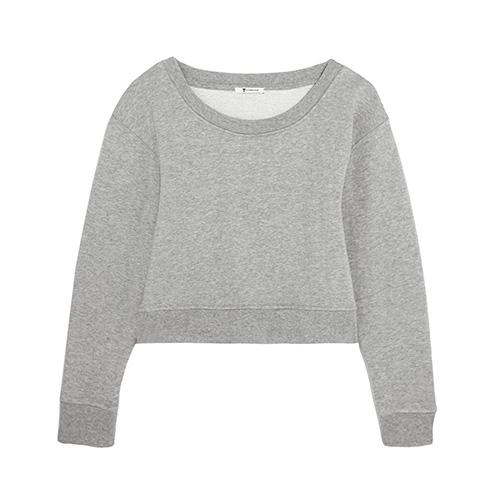 Verkürztes Sweatshirt aus Jersey aus Stretch-Baumwolle von T by Alexander Wang