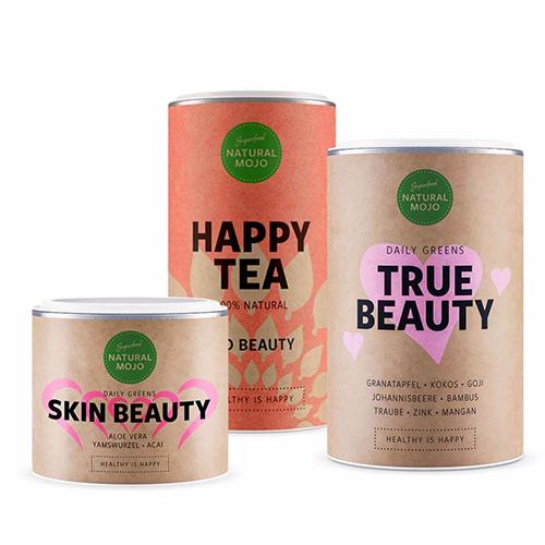 Wohlfühl-Sets Skin Beauty, Happy Tea und True Beauty von NATURAL MOJO / Foto: PR