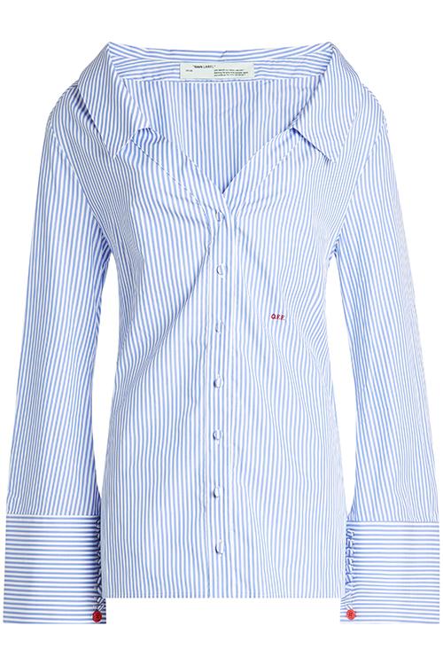 OFF-WHITE über STYLEBOP.com: gestreifte Off-Shoulder Bluse aus Baumwolle
