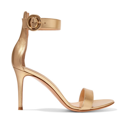 Portofino Sandalen aus Metallic-Leder von Gianvito Rossi