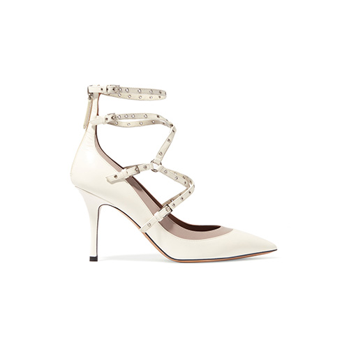 Valentino: Love Latch eyelet embellished leather pumps