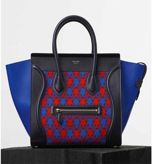 Mini Luggage Handbag in Electric Blue Diamond Jacquard Knit, Calfskin trimmings and Lambskin lining 165212YSM.07RE