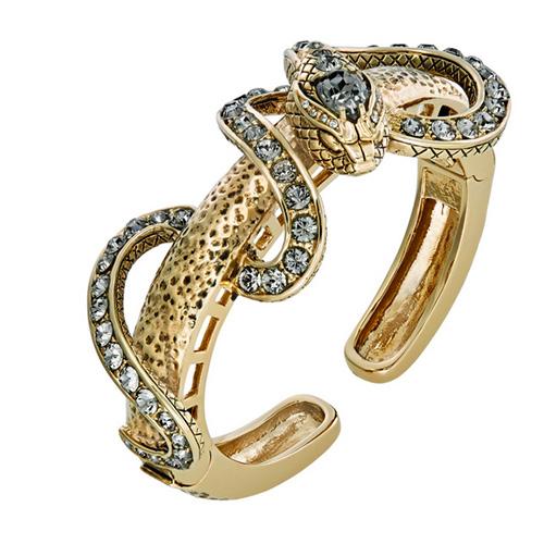 Breiter, vergoldeter Armreif mit Kristallen von Swarovski® von Roberto Cavalli für Cadenzza