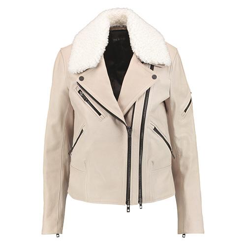Rag & Bone: Minerva shearling trimmed textured leather biker jacket